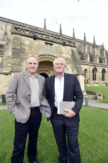 Dr. Brian Mathew and Lord Paddy Ashdown at Malmesbury Abbey (Diane Vose Wiltshire Gazette and Herald)